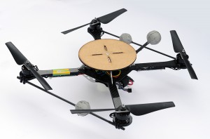 A quadrocopter with a 12cm plate for balancing