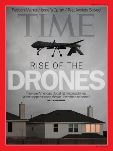 Time Magazine, cover of issue featuring Rise of the Drones