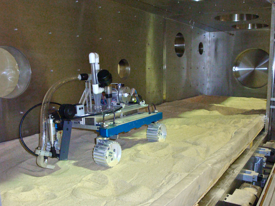 A functional prototype of the pneumatic mining system in Honeybee's vacuum chamber.