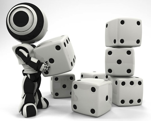 photo of tiny robot with dice