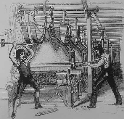 Classic image of Luddites destroying automated loom.