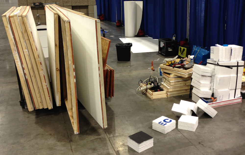 Materials used to produce IRO competition events being prepared for removal from convention center
