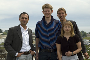 Dario Floreano, with (then) graduate students Peter Durr, Markus Waibel, and Sabine Hauert