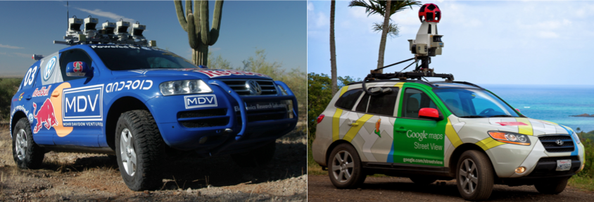 Left: Team Stanford's Stanley, the winning car of DARPA's 2005 Grand Challenge. Right: The Google Car, developed by a team led by Sebastian Thrun, former leader of Team Stanford. Sources: DARPA, Google