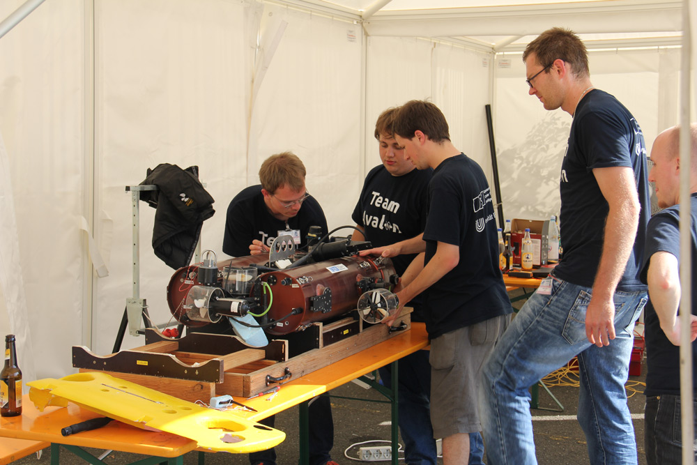 Team Avalon tuning their underwater robot for the combined scenario. (copyright Nicolas Jourden/CMRE-euRathlon)