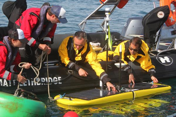 The Waveglider receives last minute checks before being deployed. Source: British National Oceanography Centre.