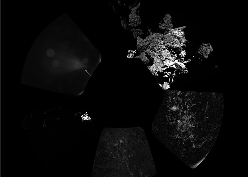 Rosetta's lander Philae has returned the first panoramic image from the surface of a comet. The view, unprocessed, as it has been captured by the CIVA-P imaging system, shows a 360º view around the point of final touchdown. The three feet of Philae's landing gear can be seen in some of the frames. Confirmation of Philae's touchdown on the surface of Comet 67P/Churyumov–Gerasimenko arrived on Earth at 16:03 GMT/17:03 CET on 12 November. Source: ESA