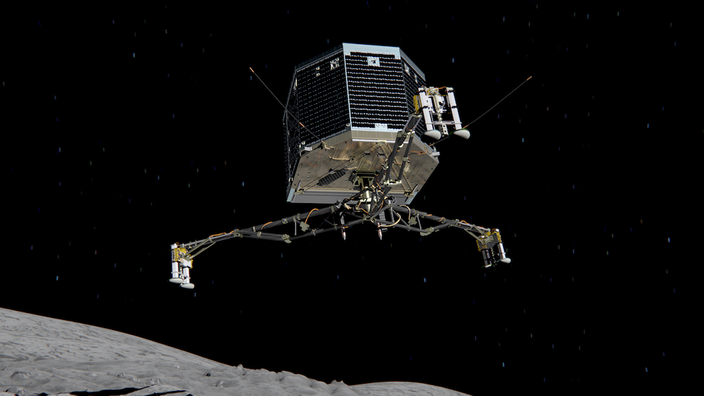Philae separating from Rosetta and descending to the surface of comet 67P/Churyumov-Gerasimenko in November 2014. (Credit:ESA/ATG medialab)