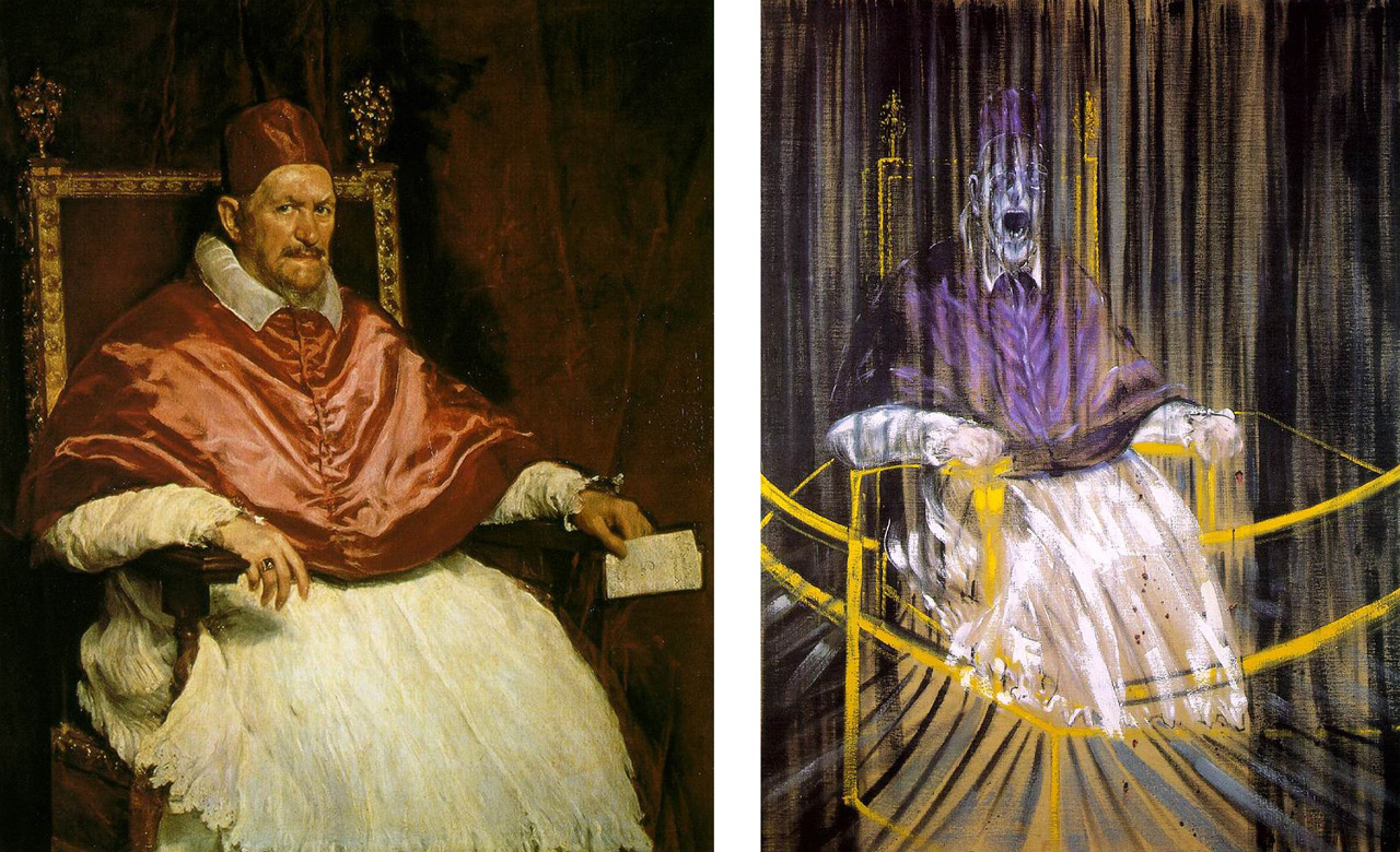 Figure 1: An example of an often-cited comparison in the context of influence. Left: Diego Velazquez's Portrait of Pope Innocent X  (1650), and, Right: Francis Bacon's Study After Velazquez's Portrait of Pope Innocent X (1953). Similar compositions, pose, and subject matter but a different view of the work.