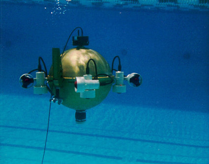 First built in 1991, the Omni-Directional Intelligent Navigator (ODIN) was a sphere-shaped, autonomous underwater robot capable of instantaneous movement in six directions. Credit: Credit: Autonomous Systems Laboratory, University of Hawaii