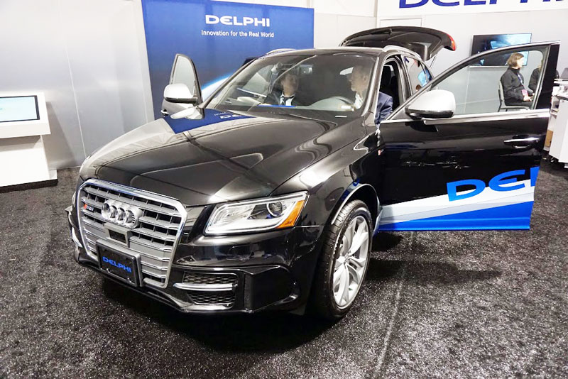 Delphi's car bristling with sensors -- 6 LIDARS and even more radars.