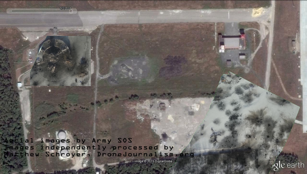 In the photomaps created from the Jan. 15 Army SOS video, the aircraft is destroyed, and so is much of the air traffic control tower and its surrounding buildings. Snow cover makes it difficult to find tarmac and roads.