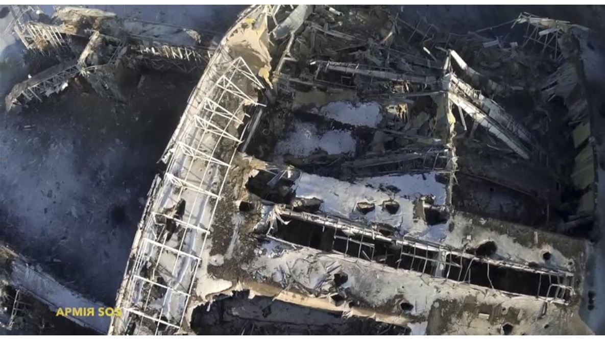 A video taken with a drone shows the extent of the destruction at Ukraine's Donetsk Airport. Credit: Reuters.
