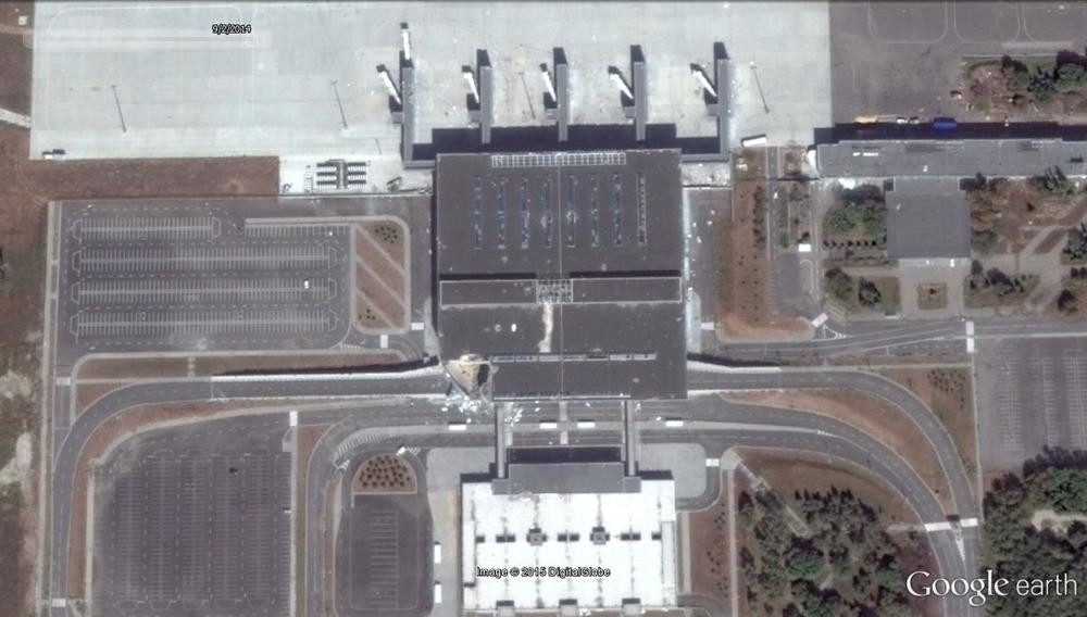 Google Earth satellite imagery recorded on Sept. 2, 2014. Note existing damage to the southwest corner of the main terminal.