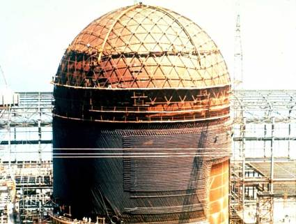 Decommissioning of a nuclear plant, the containment is shown in the picture and is half deconstructed. Source: National Regulatory Commission.