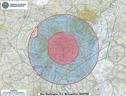 The Air Defense Identification Zone (ADIZ) surrounding Washington, D.C. Source: Wikipedia.