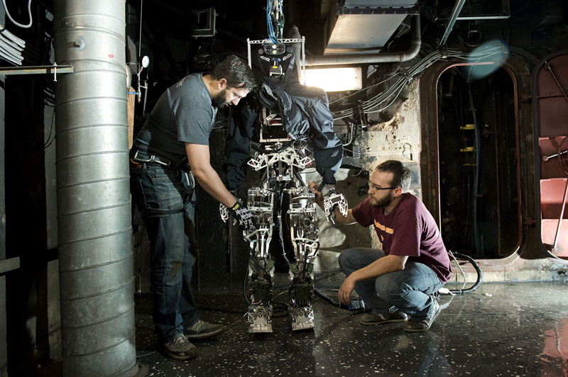 Firefighting robot: SAFFiR, short for Shipboard Autonomous Firefighting Robot, stands 5 foot 10 inches tall and weighs about 140 pounds. Its vision is threefold: Stereo camera, stereo thermal imaging to see through smoke and detect heat, and laser rangefinder for accurate mapping. Source: Virginia Tech.