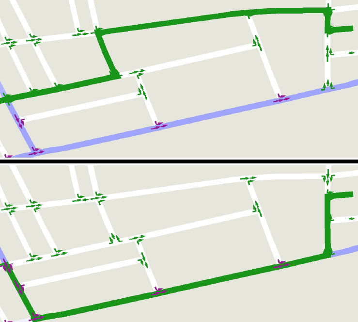 The driving routes (in green) computed by a Lexicographic Value Iteration (LVI) algorithm for an attentive driver (above) and a tired driver (below) based on traffic and road conditions. Credit: Shlomo Zilberstein, University of Massachusetts Amherst