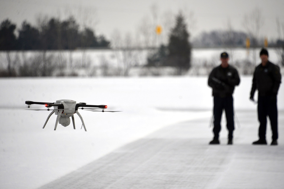 The Michigan State Police received approval from the FAA to fly a Aeryon SkyRanger drone anywhere in the state. Credit: Dale G. Young / The Detroit News.