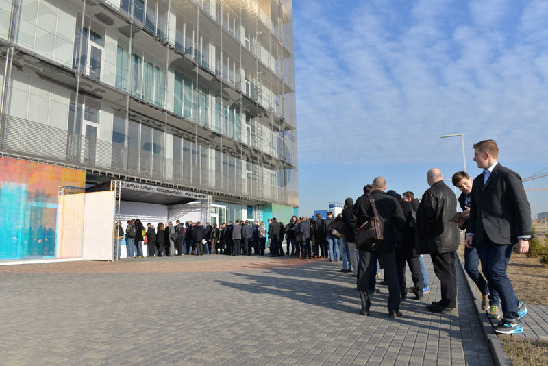 Participants line up early to register for the 2015 Skolkovo International Robotics Conference. Photo credit: Skolkovo.