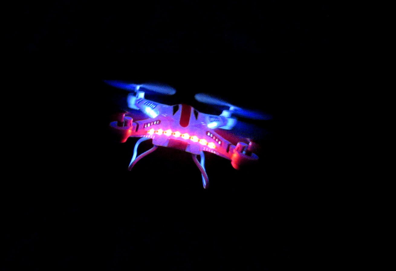 JJRC H8C Quadcopter Drone - Night Flight. Source Youtube.