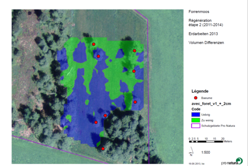 This swisstopo image, captured before the redevelopment work began, shows the full site that Pro Natura protects. The drone-sourced data overlaid in blue and green shows areas of terrain surplus (too high) and deficit (too low) respectively, with red dots representing trees.