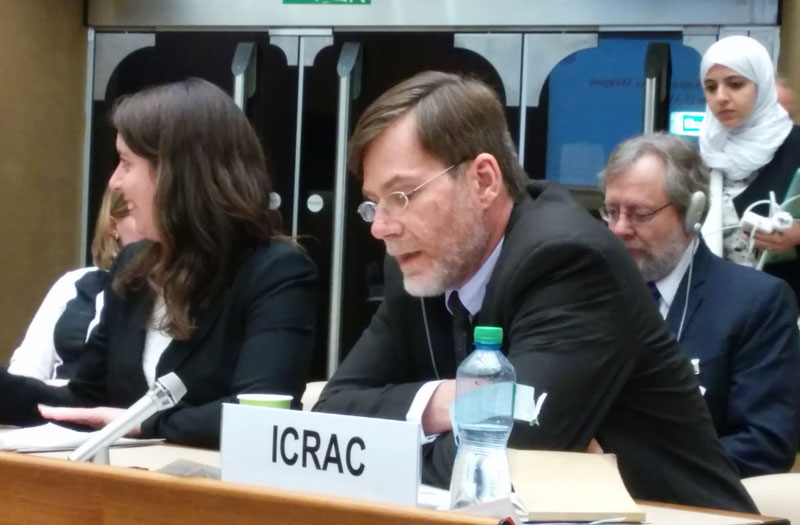 Mark A. Gubrud at CCW 2015 delivering ICRAC's opening statement.