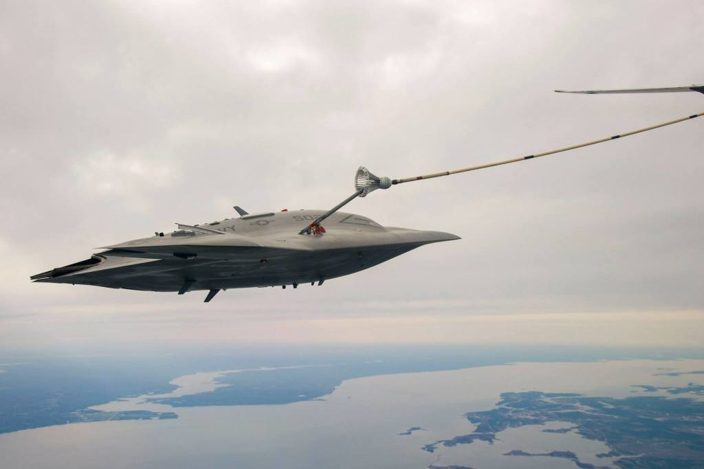 The X-47B test drone completes its first mid-air refueling. Credit: Northrop Grumman