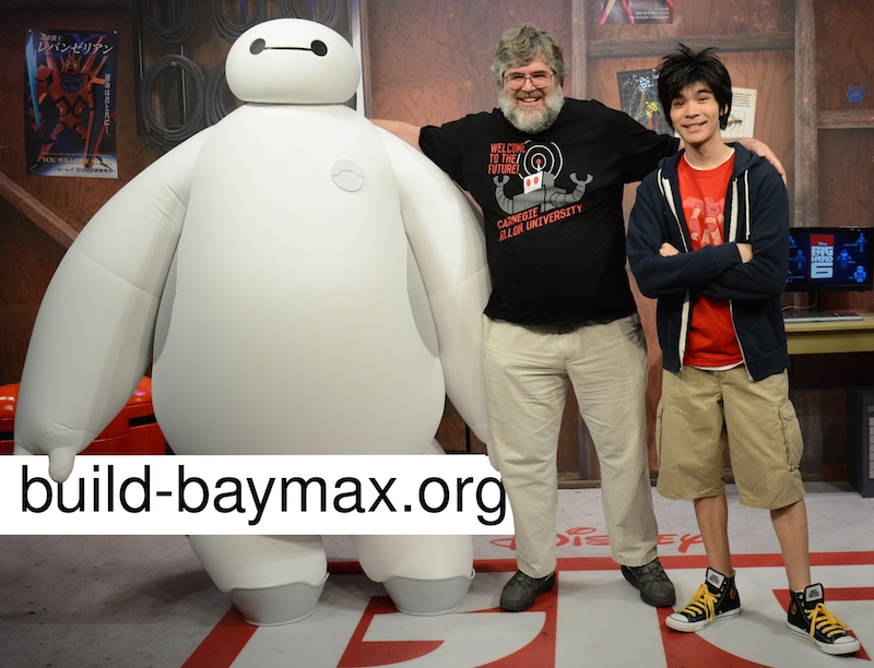 Baymax, Chris Atkeson and Hiro from Disney's Big Hero 6. Source: Chris Atkeson