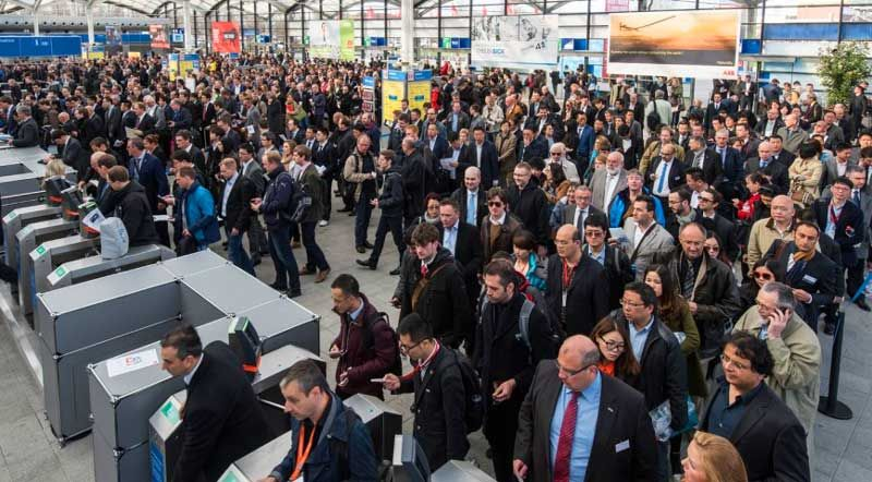 Crowds at Hannover Messe, 2015.