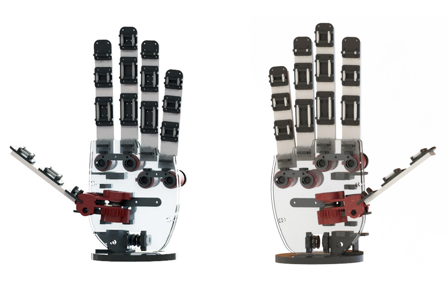 Fig. 3: Personalized designs. Two different robot hand models are depicted. The left hand version was created with a total length of 17.8cm, while the right hand version with a total length of 19cm.