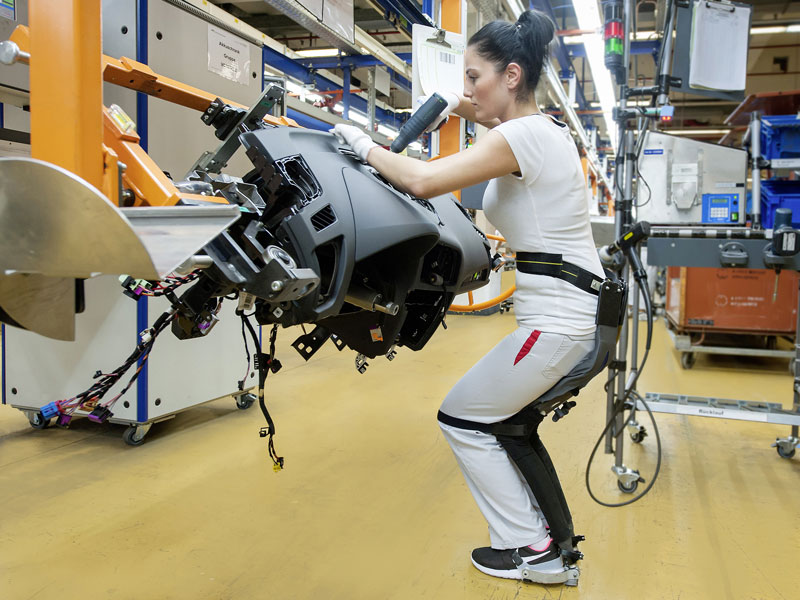 Noonee Testing Chairless Chair Exoskeleton At Audi