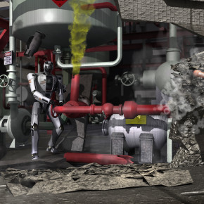 Artist's concept of robots competing in the DARPA Robotics Challenge. Source: DARPA
