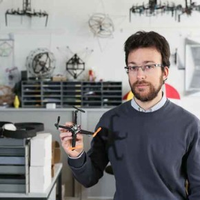Stefano Mintchev holds the quadrotor