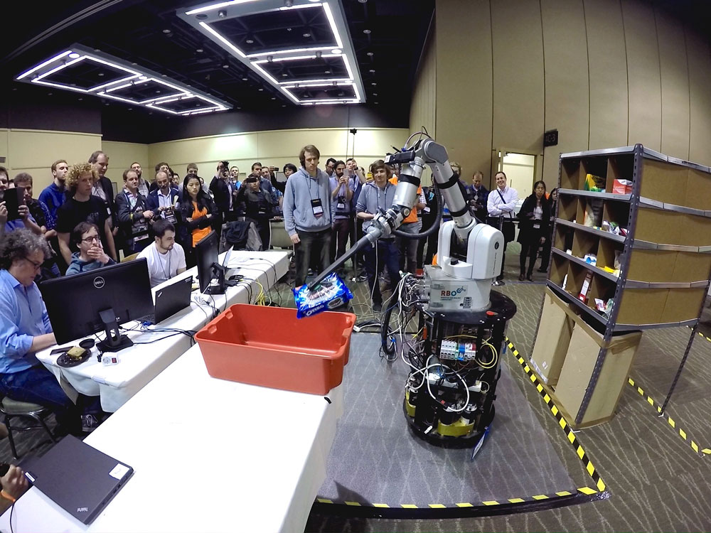 RBO Team from TU Berlin wins the Amazon Picking Challenge at ICRA 2015. Photo Credit: RBO.