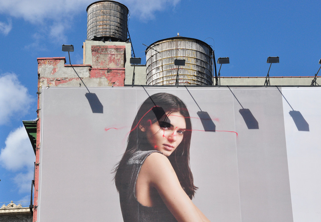 Anonymous graffiti artist KATSU used a drone to tag a massive billboard in New York City. Credit: Arthur Holland Michel
