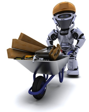 3D render of a robot builder with a wheel barrow carrying tools