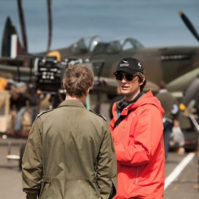 Jon Wright (right) directs the action around the museum-piece Supermarine Spitfire, on location in the Isle of Man.