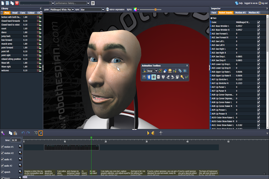 Engineered Arts' in-house facial animation software lets you create realistic expressions on a robot using just a mouse. Source: Engineered Arts