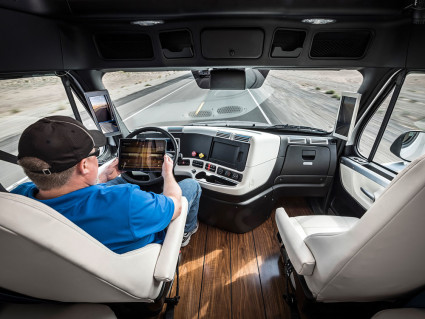 Mercedes/Daimler and Freightliner are testing a self-driving truck in Nevada.