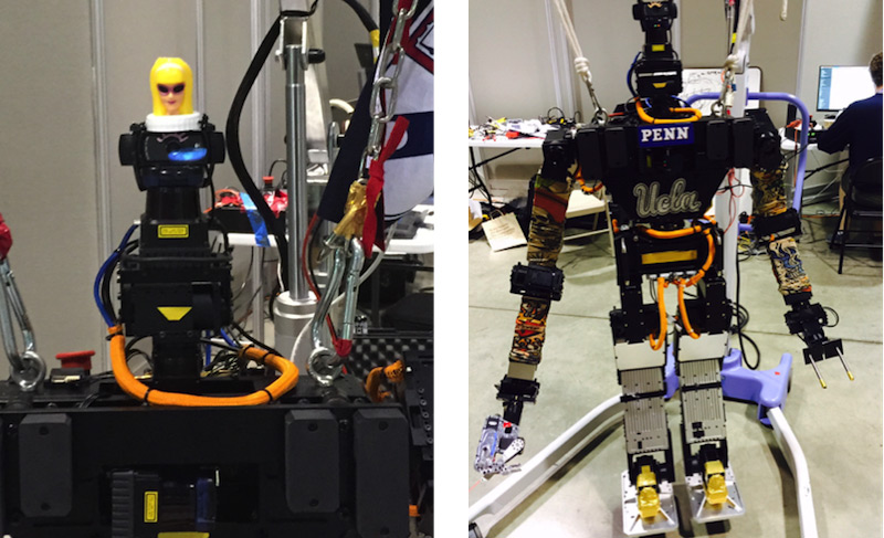 Team THOR members couldn't stop themselves from adding a doll head and some tattoo sleeves, not to mention a little UCLA bling, to their THOR-RD robot.