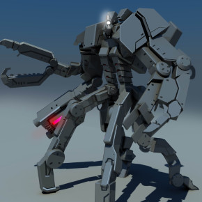 "Early 3D concept for ""Robot Overlords"""