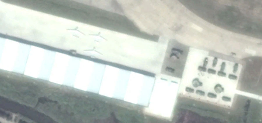 Satellite imagery of Chinese drones at an airbase on Daishan Island. Via: Bellingcat.