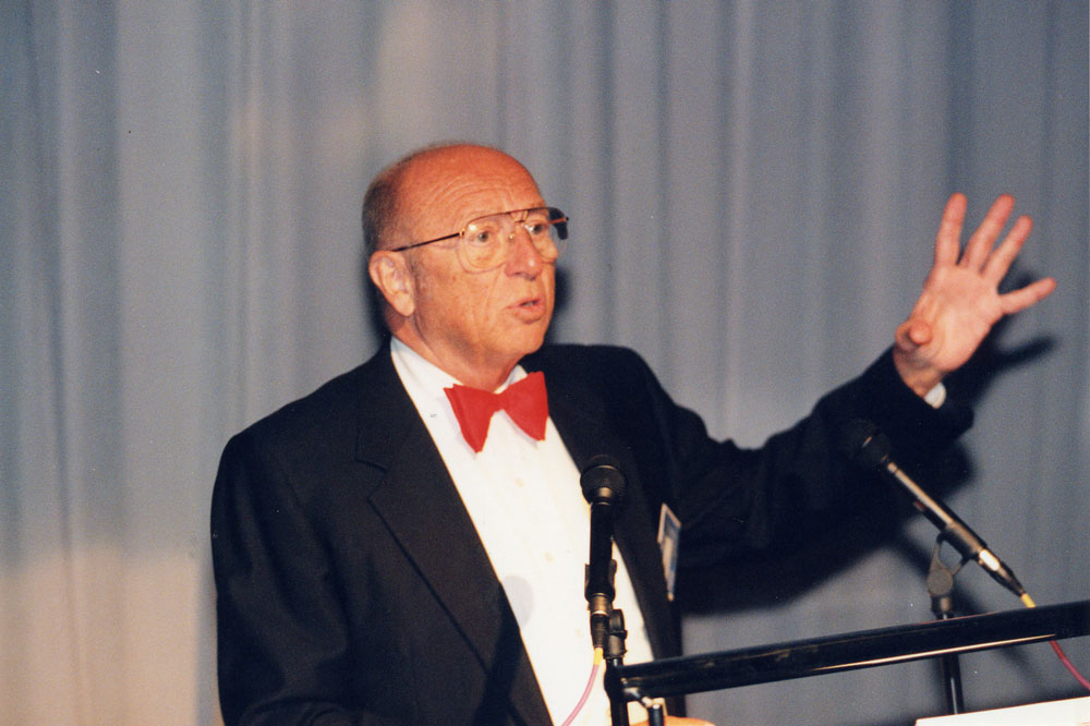 Joseph F. Engelberger, Ars Electronica Symposium 1996. Image courtesy of Ars Electronica.