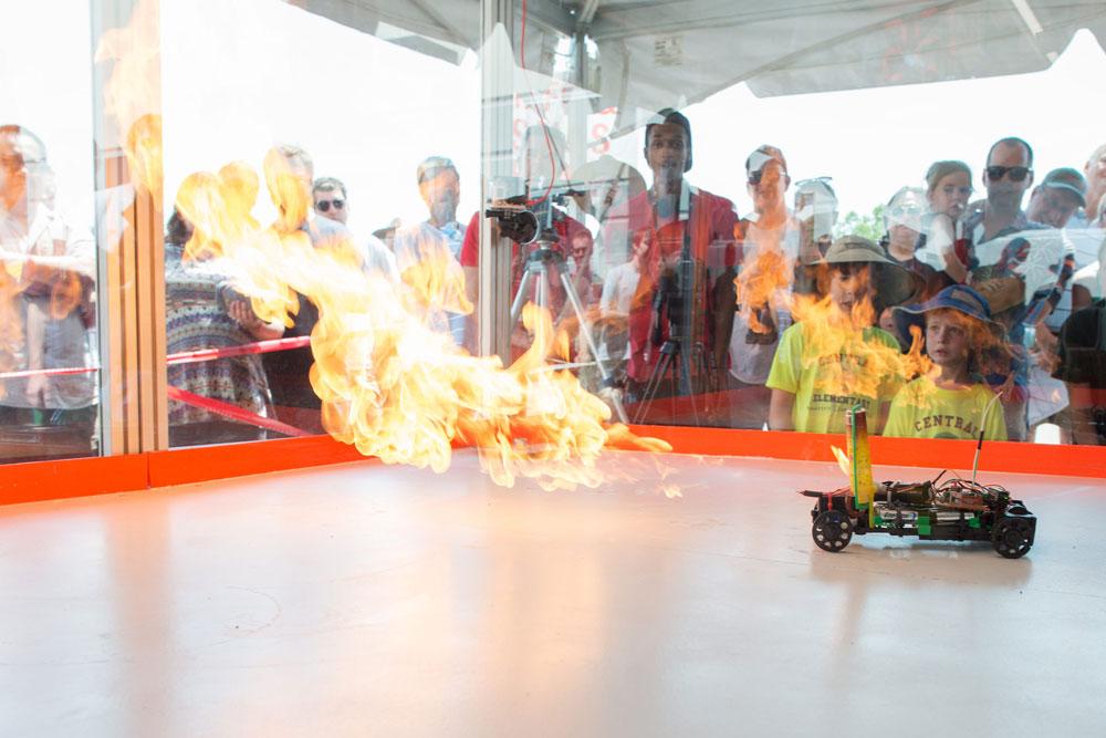 Firey destruction in Sparkfun's Combat Bot arena. Source: Sparkfun