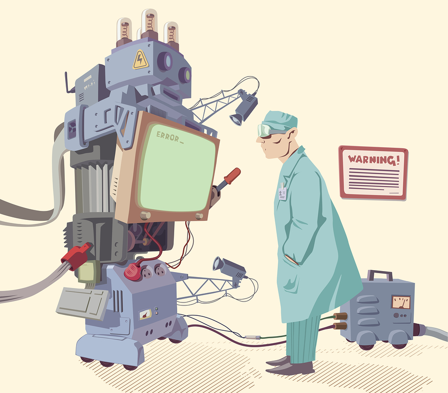 The scientist is looking at the error message of the giant robot's operating system.