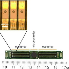 Individual eyes as embedded onto a PCB.