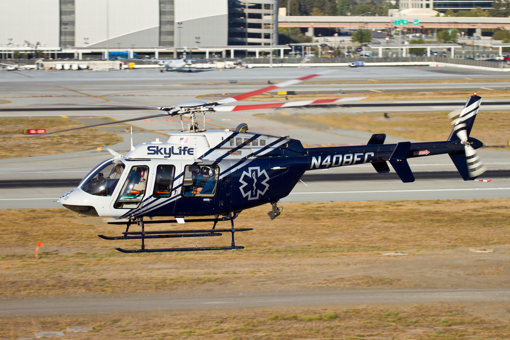 A SkyLife helicopter narrowly avoided a drone in Southern California. Credit: Evan Baker/Flickr