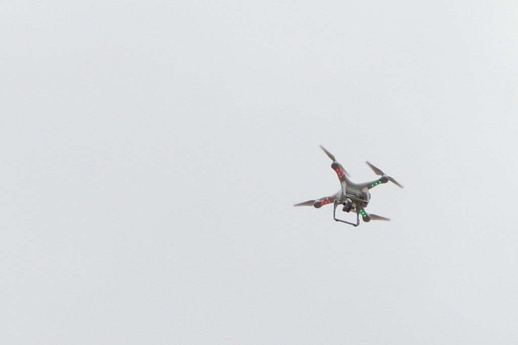 A DJI Phantom drone above a protest in Baltimore on April 25. Credit: Dan Gettinger