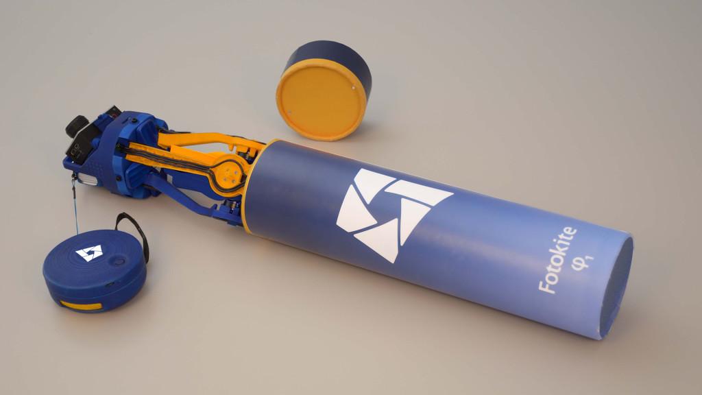 Fotokite Phi folded, half in its tube
